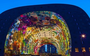Picture night, lights, Netherlands, Rotterdam, Markthal, indoor market