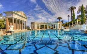 Picture water, CA, columns, USA, architecture, San Simeon, the pool of Neptune