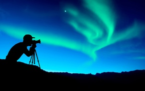 Picture nature, Northern lights, camera, silhouette, the camera, photographer, photographer, relieves, northern lights, wallpaper., beautiful background, …