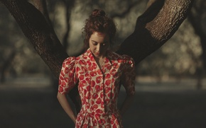 Picture girl, face, background, tree, hair, dress