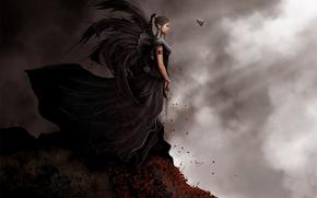 Wallpaper night, rock, fantasy, the wind, elf, drow