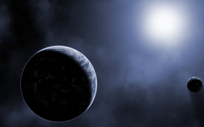 Picture stars, planets, shadow, Sci Fi