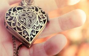 Picture heart, hand, pendant, fingers, decoration