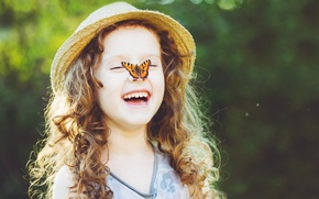 Picture butterfly, nature, children, childhood, sweetheart, child, spring, blonde, happy, nature, beautiful, butterfly, beautiful, spring, child, ...