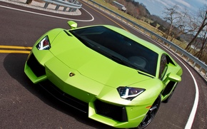 Picture road, dream, turn, beauty, Lamborghini LP700-4 Aventador