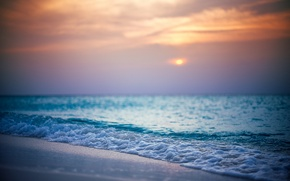 Picture water, the sun, clouds, shore, Nature