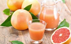 Picture juice, fruit, grapefruit, glass. pitcher