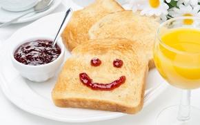 Picture smile, chamomile, Breakfast, juice, bread, jam, smiley, toast