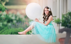 Picture look, balloon, mood, barefoot, ball, dress, girl