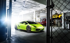 Picture Lamborghini, Gallardo, Green, Garage