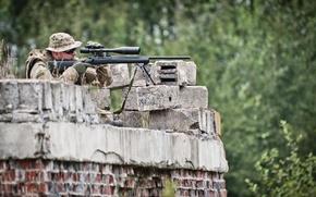 Picture sniper, pose, monitoring, gun long range telescopic sight
