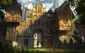 Picture trees, castle, lights, tower, flags, the gates, castle, guards, Jonathan Dufresne, Castle Gate