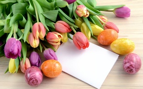 Picture flowers, holiday, eggs, Easter, tulips, card, Easter, eggs