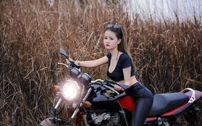 Picture girl, style, motorcycle, bike, Asian