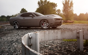 Picture Auto, Trees, Tuning, Machine, Railroad, Dodge, Challenger, Rails, Crushed stone