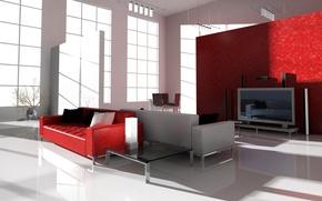 Picture sofa, TV, window, table, living room, Studio