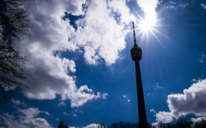 Picture Clouds, Sun, Germany, Spring, Sunshine, Stuttgart, TV tower, TV Tower