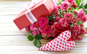Picture flowers, box, gift, Valentine's Day, gift, roses, romantic, pink, bow, roses, love, heart