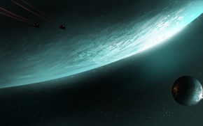 Picture space, planet, satellite, ships, art, Elite, Dangerous, Ashley Barley