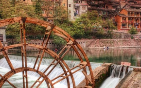 Picture river, home, wheel, hdr, cascade