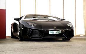 Picture wall, black, Parking, lamborghini, black, aventador, lp700-4, Lamborghini, aventador, colon