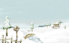 Picture river, birdhouse, snow, the bridge, winter, house