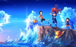 Wallpaper sea, wave, shore, fish, hat, art, octopus, monkey d luffy, one piece, fun, portgas d ...