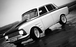 Picture asphalt, car, Muscovite, Moskvich 412, white bullet, tuner, AZLK