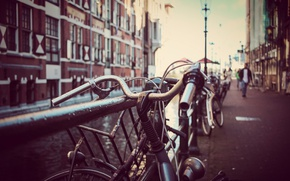 Picture river, people, bokeh, bikes, canal, lamp posts, urban scene, citysacpe
