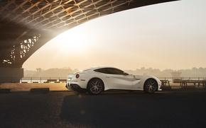 Picture City, Ferrari, Bridge, Sun, White, Supercar, Berlinetta, F12, Rear