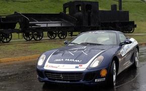 Wallpaper Ferrari, The engine, Rain