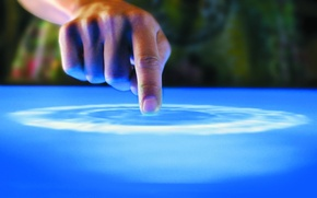 Picture blue, table, finger, Microsoft, Surface