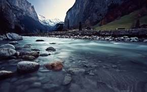 Picture mountains, river, Switzerland, houses, Switzerland, Lauterbrunnen, Lauterbrunnen