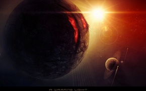 Picture stars, planets, spaceships, a worming light