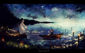 Picture the sky, girl, stars, clouds, night, lake, boat, hat, anime, art, lantern, guy, garland, canarinu
