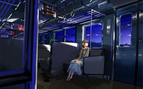 Picture girl, train, the evening, headphones, art, one, kurono-fuel