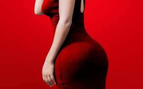 Picture girl, red, figure, dress, red background