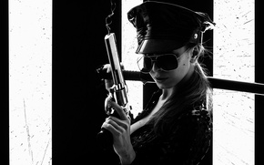 Picture girl, katana, glasses, black and white, revolver, COP, cop