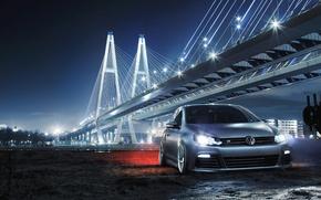 Picture Volkswagen, Car, Front, Bridge, Night, Golf R, Low