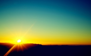 Picture the sky, the sun, clouds, sunset, mountains, horizon