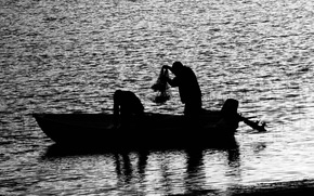 Wallpaper black and white, people, water, boat, fishing