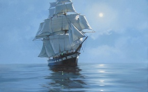 Picture sea, ship, sailboat, picture, painting, James Brereton