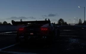 Picture road, night, posts, the evening, Lamborghini, back, The Crew