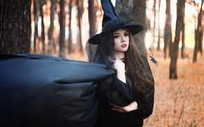 Picture forest, girl, black, mantle, girl, witch, magic, black, halloween, cap, witch, Halloween