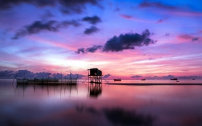 Picture colors, sky, sea, landscape, nature, Sunset, water, clouds, evening, reflection, boats, shack, fishing hut, stilts