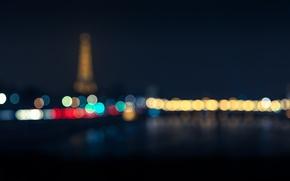 Picture lights, Paris, Eiffel tower, bokeh