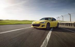Wallpaper yellow, BRZ, car, machine, auto, the sky, Subaru, Subaru