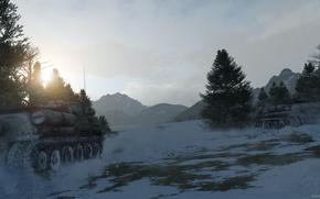 Picture forest, snow, art, tank, su-100, Soviet Tank, War thunder, hibikirus