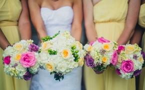 Picture flowers, dress, the bride, wedding, bouquets, girlfriend