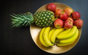 Picture background, widescreen, Wallpaper, apples, food, plate, wallpaper, fruit, pineapple, banana, widescreen, background, full screen, HD …